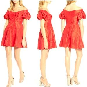 TOPSHOP Taffy Sleeve Off the Shoulder Dress RED 6